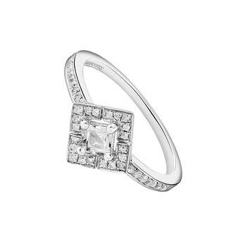 Bague carrée topaze diamant argent, J03772-01-WT-GD, hi-res