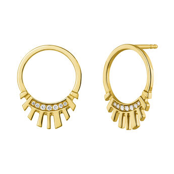 Gold plated boho frontal hoop earrings, J04130-02-WT, hi-res