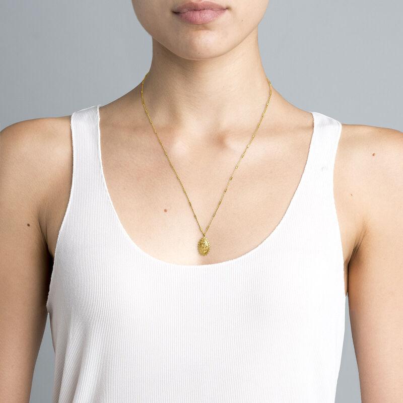 Gold plated oval medal necklace, J04714-02, hi-res