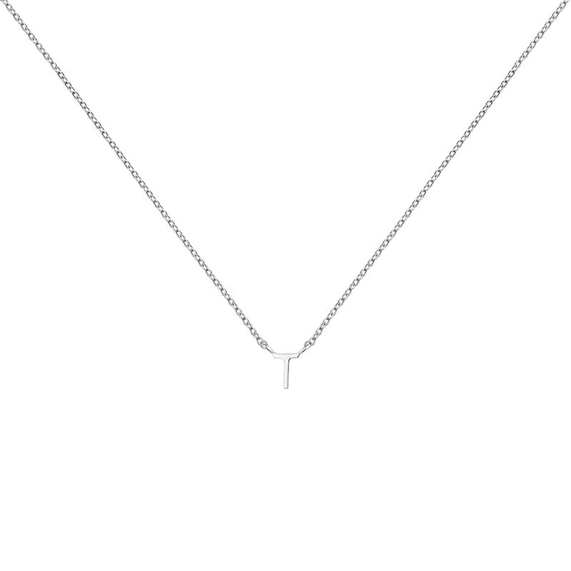 Collier iniciale T or blanc, J04382-01-T, hi-res