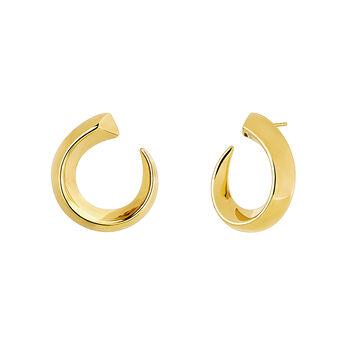 Pendientes aro abiertos decrecientes pequeños oro, J04254-02, hi-res