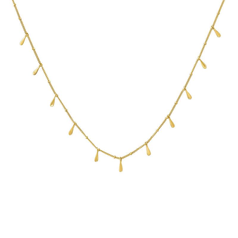 Collar motivos lágrimas plata recubierta oro, J04591-02, hi-res