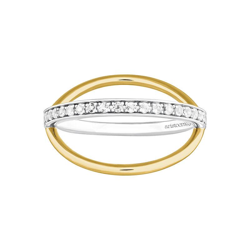 Anillo cruzado liso y pavé plata y oro rosa, J04032-09-WT, hi-res