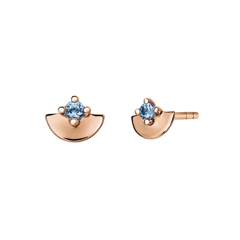 Rose gold plated topaz stud earrings, J03739-03-LB, hi-res