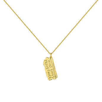 Gold plated hieroglyph necklace, J04717-02, hi-res