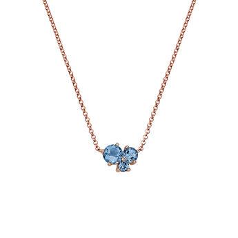 Rose gold plated Three Gemstone Necklace, J06169-03-LB, hi-res