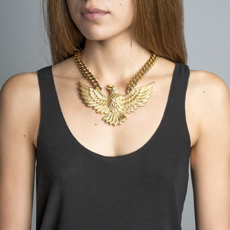 Large gold plated eagle necklace, J01501-02, hi-res