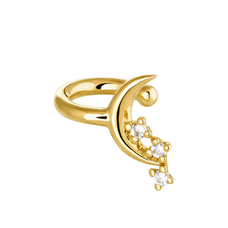 Gold moon cartilage ring, J03989-02-WT, hi-res