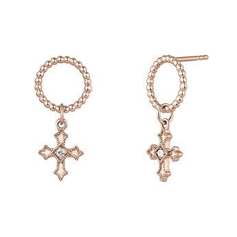 Pendientes aro cruz pequeña topacio plata recubierta oro rosa, J04227-03-WT, hi-res