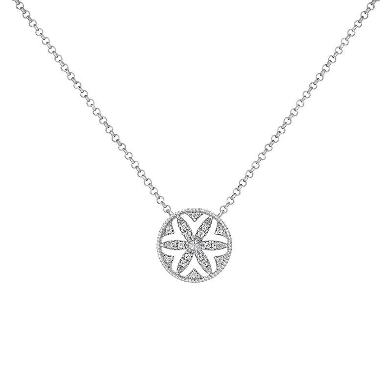 Silver Diamonds Border Necklace, J03719-01-GD, hi-res