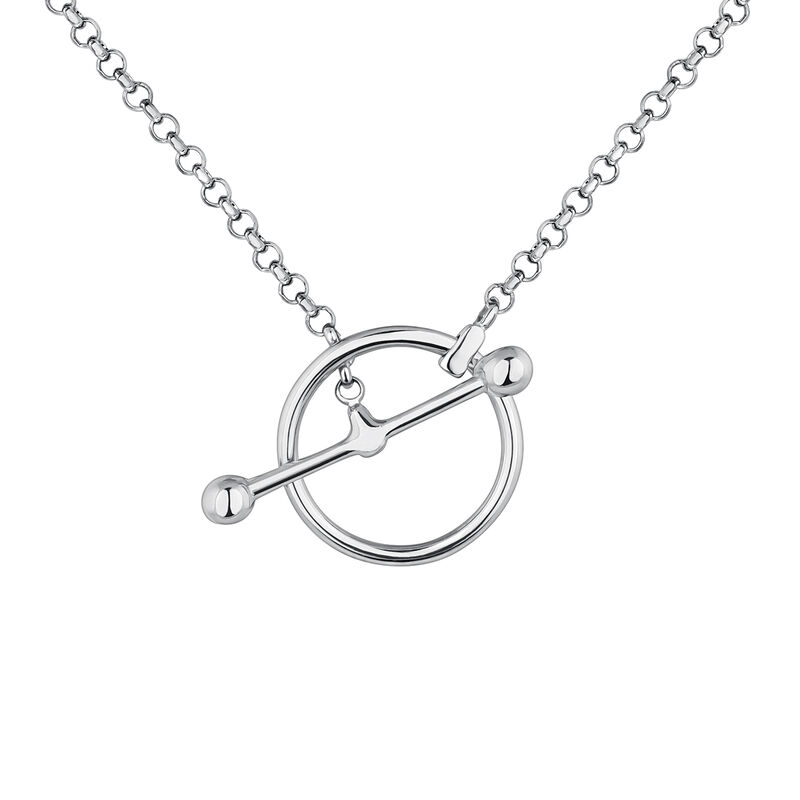 Silver piercing bar circle necklace, J04329-01, hi-res
