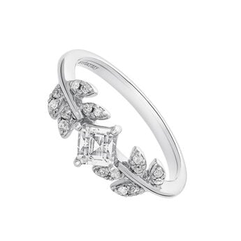 Silver diamond topaz leaf ring, J03707-01-WT-GD, hi-res