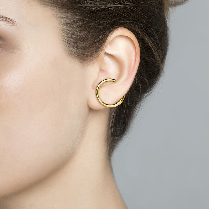Thick gold plated hoop earring, J04259-02-H, hi-res