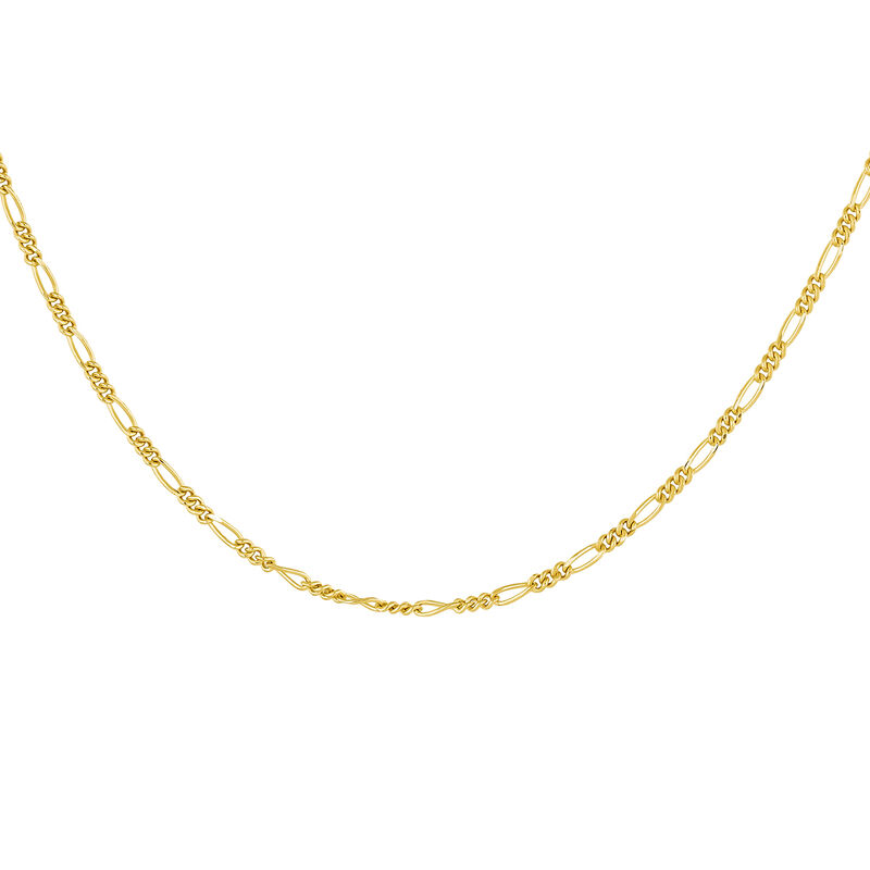 Gold plated combined links chain, J04613-02, hi-res