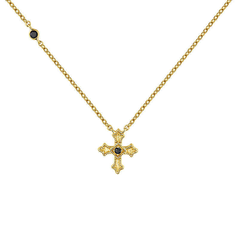 Gold necklace with a small cross with spinels, J04230-02-BSN, hi-res
