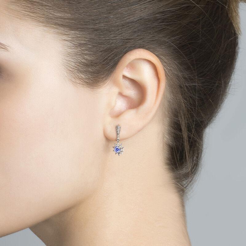Silver tanzanite star earrings, J03720-01-GD-TA, hi-res