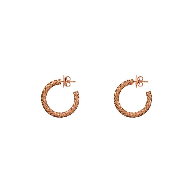 Pendientes aro gallonado mediano oro rosa, J01588-03, hi-res