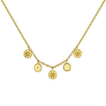 Gold plated round motifs ethnic necklace, J04446-02, hi-res