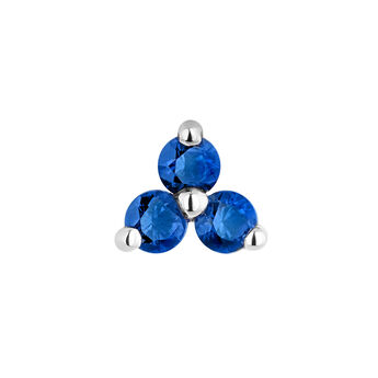Medium white gold clover sapphire earring, J04348-01-BS-H, hi-res