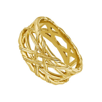 Small gold plated wicker ring, J04410-02, hi-res