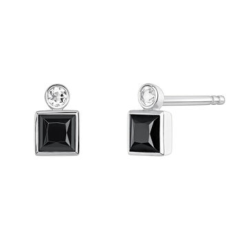 Small silver earrings with spinels , J04088-01-BSN-WT, hi-res