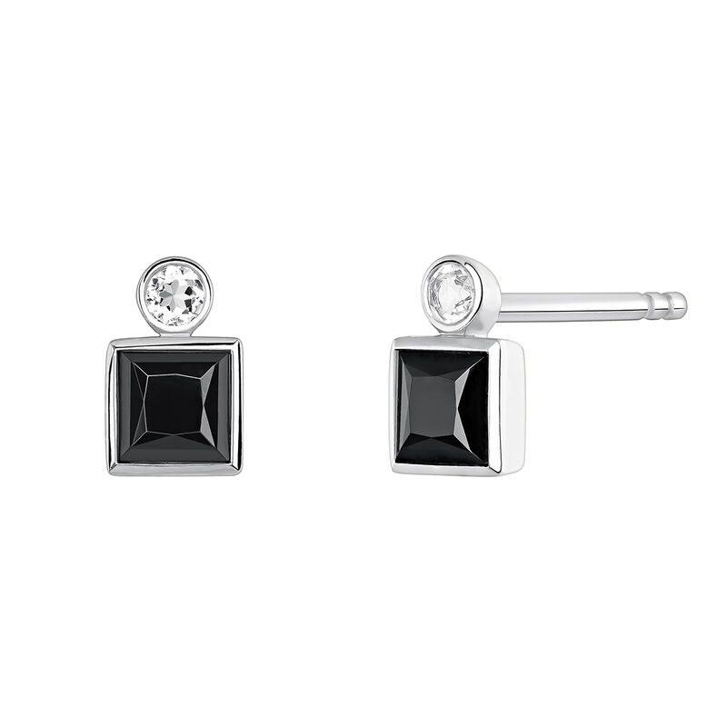 Small silver earrings with spinels, J04088-01-BSN-WT, hi-res