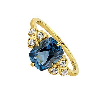 Gold plated topaz ring, J04680-02-LB-WT, hi-res