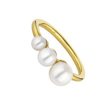 Bague perle argent plaqué or, J04729-02-WP, hi-res