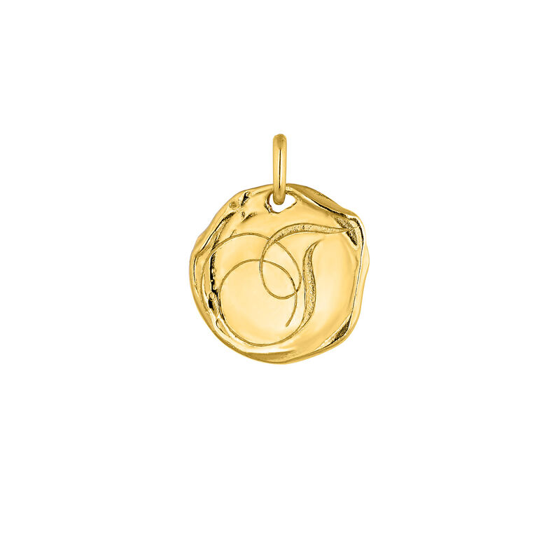 Gold plated Initial T medal pendant, J04641-02-T, hi-res