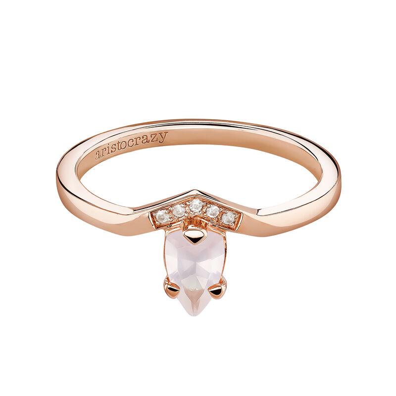Anillo cuarzo pequeño plata recubierta oro rosa, J03956-03-PQ-WT, hi-res