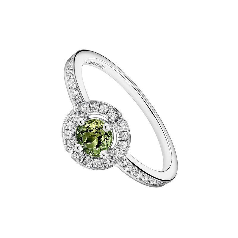 Silver ring with green tourmaline and diamond trim, J03771-01-GTU, hi-res