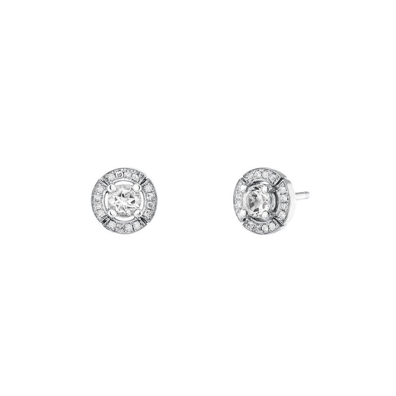 Small silver earrings with topaz and diamond, J03770-01-WT-GD, hi-res