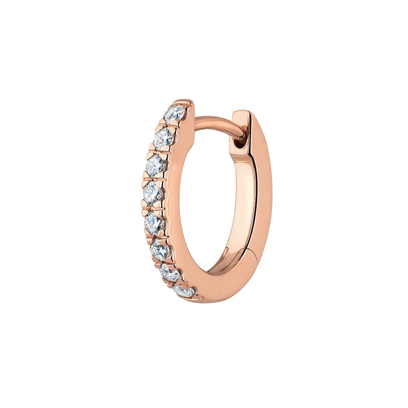Pendiente aro mini diamante oro rosa 0,08 ct, J00597-03-NEW-H, hi-res