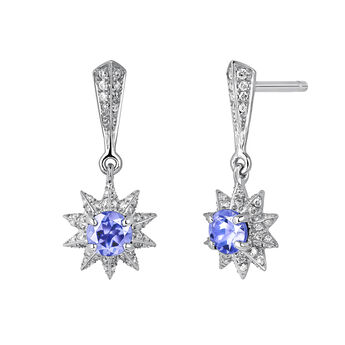 Silver tanzanite star earrings, J03720-01-GD-TA, hi-res
