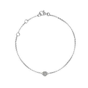Bracelet rosace or blanc diamants 0,02 ct, J01350-01, hi-res