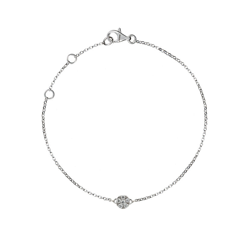 Bracelet rosace or blanc diamants 0,02 ct, J01350-01, hi-res
