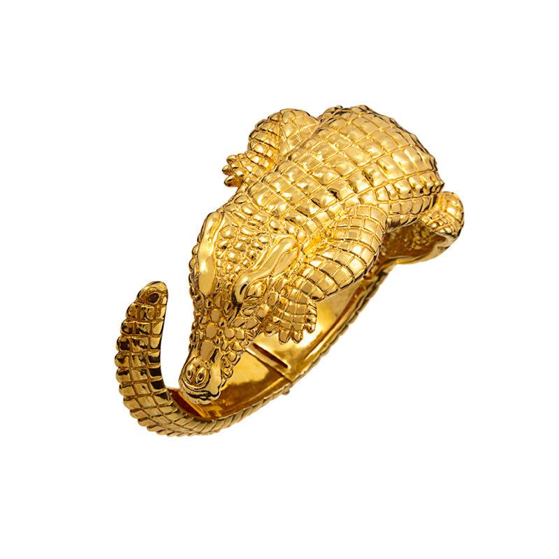 Gold crocodile bracelet, J00827-02, hi-res