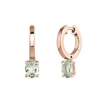 Pendientes aro pequeño garra cuarzo plata recubierta oro rosa, J03811-03-GQ, hi-res