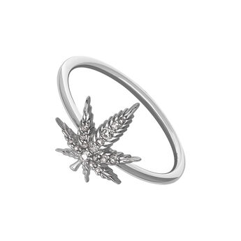 Rose gold silver hemp leaf ring, J03451-03-WT, hi-res