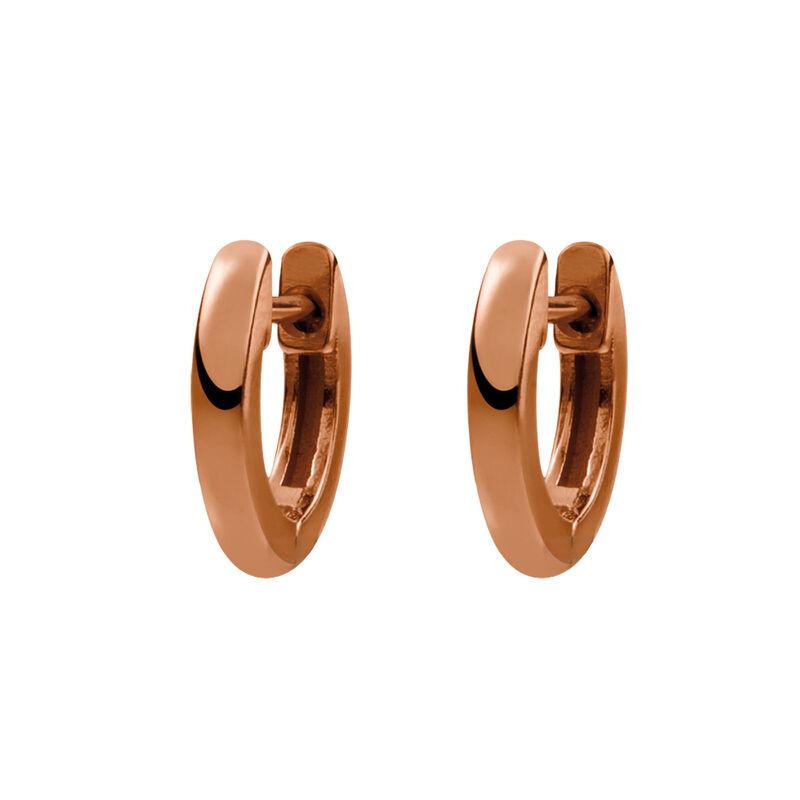 Small rose gold plated simple hoop earrings, J01444-03, hi-res