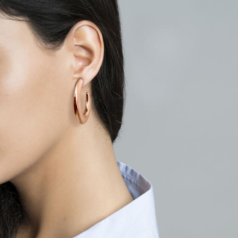 Boucles d'oreilles créoles ovales argent plaqué or rose, J04214-03, hi-res