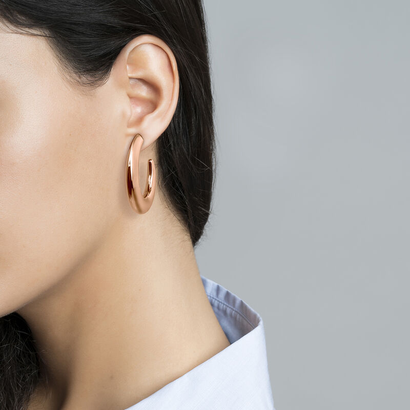 Rose gold plated descending oval hoop earrings, J04214-03, hi-res