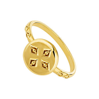 Small gold plated medal ring, J04260-02, hi-res