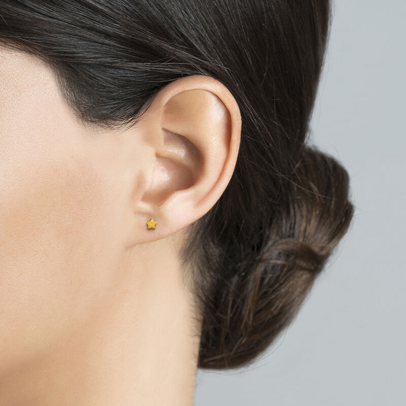 Boucles d'oreilles étoile argent plaqué or, J01086-02-NEW, hi-res