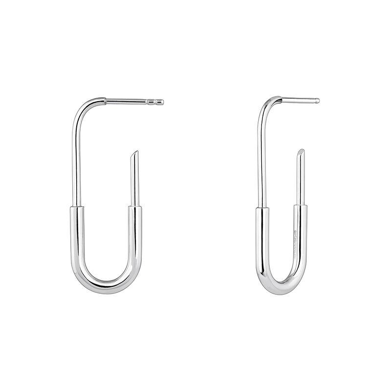 Large silver link earrings, J04212-01, hi-res