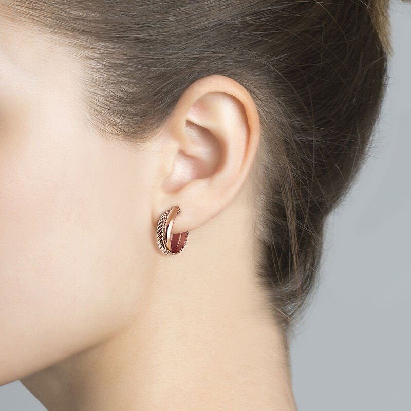 Rose gold plated smooth and cabled hoop earrings, J03095-03, hi-res