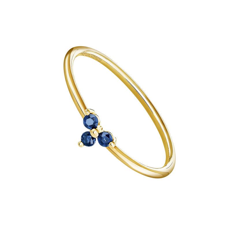 9 kt gold blue sapphire clover ring, J04066-02-BS, hi-res