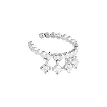 Pendiente piercing cartílago luna motivos plata, J03990-01-WT, hi-res