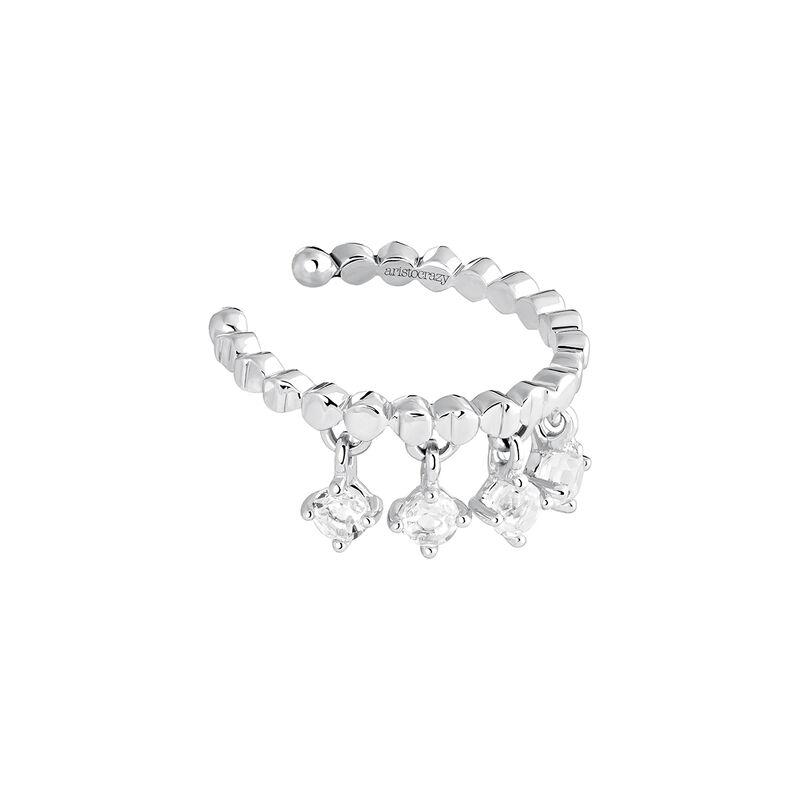 Silver moon motif cartilage ring, J03990-01-WT, hi-res