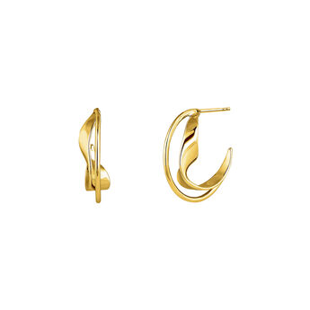 Medium gold plated sculptural hoop earrings, J04219-02, hi-res